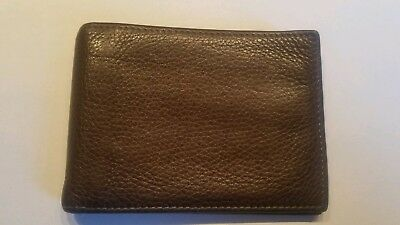a0bd1463150 Tommy Bahama Mens Dark Brown Leather Bifold Wallet Money Clip Excellent