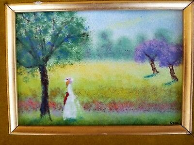 Vintage Enamel on Copper Painting French Signed Rene Mid Century Modern Framed