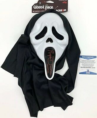 ROGER L JACKSON signed GHOSTFACE MASK SCREAM Movie Voice Ghost Face Beckett