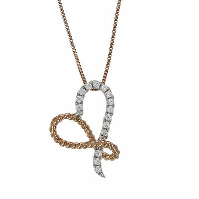 1/6 cttw Diamond Heart Pendant In 14K White and Rose Gold with 18 Inch Chain
