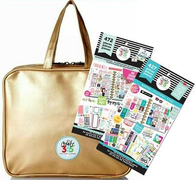 Create 365 Happy Planner Storage Case Bag Gold Memory & Quotes Sticker Books Kit