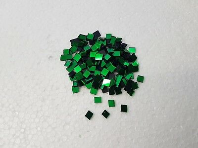 200 pieces, Green Glass Mirror Tile, Approx 0.5 x 0.5 cm, 1.6 mm Thick Art&Craft