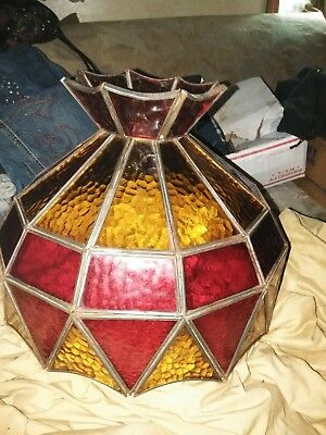 Vintage Tiffany Style Leaded Stained Glass Chandelier shade ceiling kitchen bar
