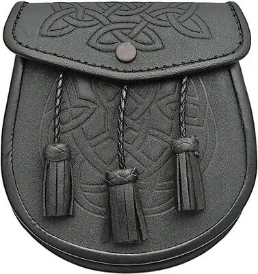 Celtic Irish Scottish Leather Sporran Waist Pouch Tassels Belt Chain Snap Close