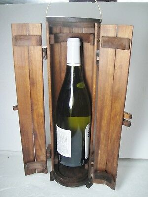 Handcrafted Wooden Wine Bottle Box Carrier Tote for Single Bottle