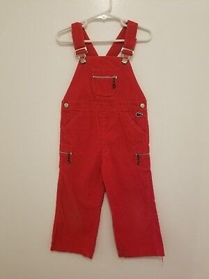 Vintage Red Corduroy IZOD LACOSTE Overalls Bibs  Alligator 3T Toddler Boy Girl