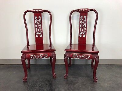 Chinese Carved Rosewood Mother of Pearl Inlay Dining Side Chairs - Pair 2