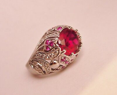 Bombe Ring Red Spinel Beaded Floral Dome 925 Sterling Silver Heavy Canada Size 7