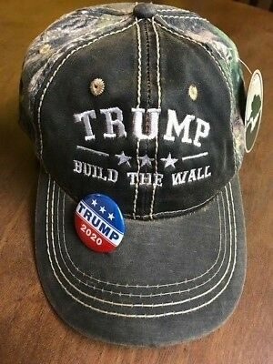 TRUMP BUILD THE WALL Cap Mossy Oak with free Donald Trump 2020 PIN