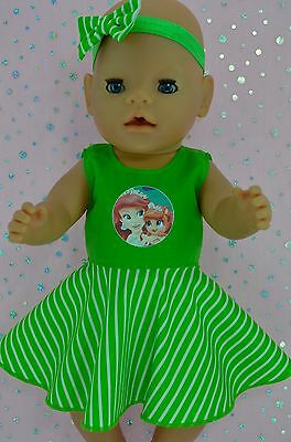 """Play n Wear Doll Clothes To Fit 17"""" Baby Born STRIPE CIRCLE DRESS~HEADBAND"""