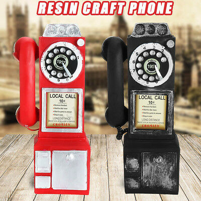 Retro Vintage Bell Antique Rotary Dial Pay Phone Booth Call Telephone Figurine