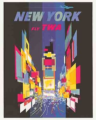 Vintage Antique Rare  POSTER 1950's  Fly TWA Airlines NYC  New York City  Travel