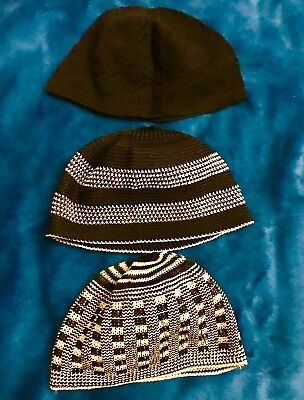 Islamic Kufi Prayer Hat Kids lot of 3 (NEW) Black