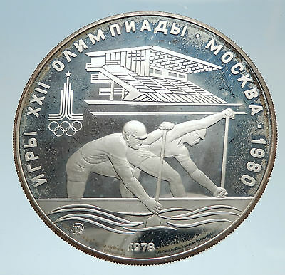 1978 MOSCOW 1980 Russia Olympics Rowing Crew Stadium Proof 10 Silver Coin i75156