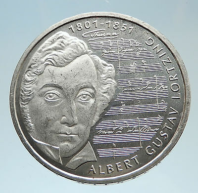 2001 GERMANY w Composer Albert Gustav Lortzing Proof Silver 10 Mark Coin i75157