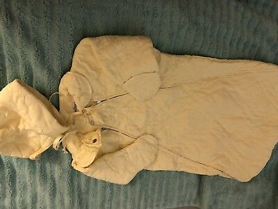 Vintage Baby Bonnet Gown Sleep Bunting Sack Unisex Yellow Quiltex 0 - 3 Mo