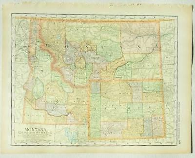 Utah And Idaho Map.1882 Original Map Utah Idaho Montana Wyoming Hand Colored 65 00