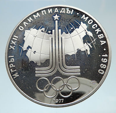 1977 MOSCOW 1980 Russia Olympics Rings Globe Silver 10 Rouble Coin i75169