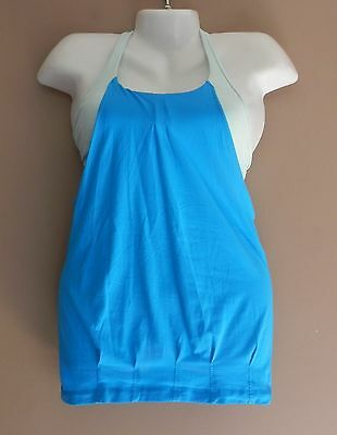 de88732ab2187 Womens LULULEMON Tank Top With Sports Bra Attached Size 4 Yoga Gym Blue    Green