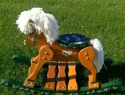 Vintage Wooden Rocking Horse Hearts & Flowers Hand Painted Yarn Hair EUC!