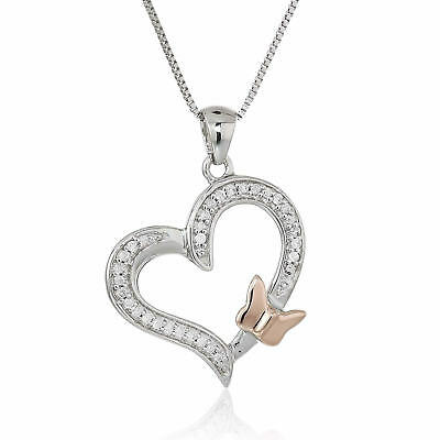 1/10 cttw Diamond Butterfly and Heart Pendant 14K White and Rose Gold With Chain