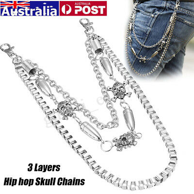 Metal Mens Hip hop Skull Jeans Waist Pant Belt Key Chain Wallets Biker Punk Rock