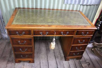 A Vintage Twin Pedestal Partners Desk with Leather Top