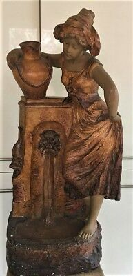 Rare Large Plaster Art Nouveau Statue Of Girl At Water Well Signed Richard 1930