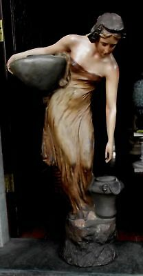 Beautiful Very Rare Large Plaster Art Nouveau Statue Of Girl At Water Well