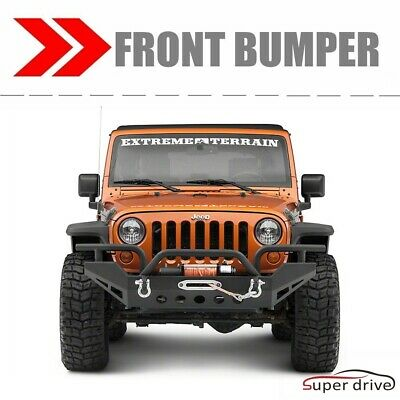 For 07-18 JEEP WRANGLER JK BLACK TEXTURED FRONT BUMPER WITH WINCH PLATE D-Rings