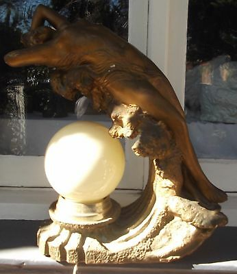 Rare Large Plaster Art Nouveau Statue Of Girl On A Wave Lamp Signed