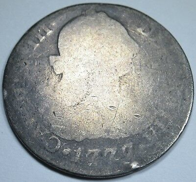 1777 Spanish Silver 2 Reales Piece of 8 Real US Colonial Pirate Treasure Coin