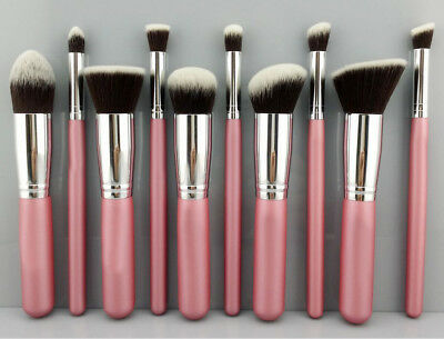 Pink+Silver SET OF 10 Make Up Brush for Blusher/Foundation & Bronzer Application