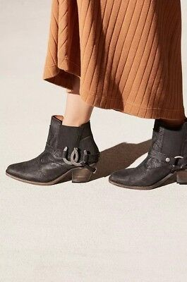 96894ccdbb555 Free People Understated Leather Lady Luck Ankle Boot $248 Black Lizard 37  38 7 8
