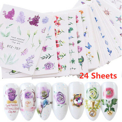 Wholesale 24 Sheets Nail Art Sticker Water Transfer Stickers Flowers Rose Decals