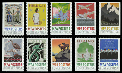 US #5180-9 5180-5189 W.P.A. WPA Posters set of 10 from convertible booklet VF NH