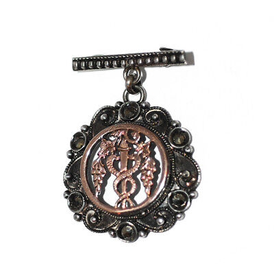 Unusual Antique Rose Gold Silver Marcasite Caduceus Brooch Pin, Greek Victorian