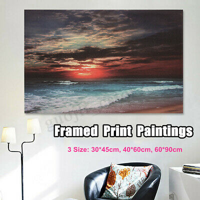 FRAMED Sunset Ocean Sea Beach Canvas Print Painting Picture Home Wall Art Decor