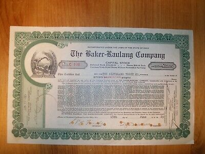 The Baker-Raulang Company 1929 Stock Certificate (Year of stock market crash)