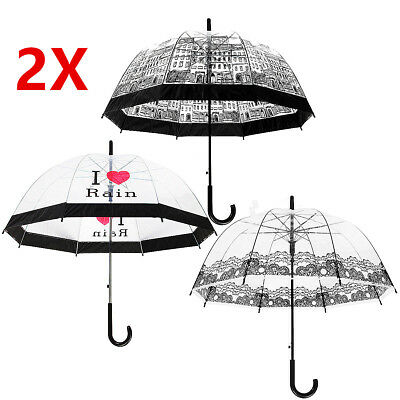 2xLady Dome Transparent Clear Lace Building Creative Print Rain Wedding Umbrella
