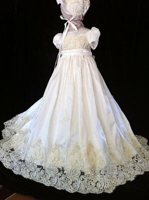 Vintage Beaded Christening Gown Infant Antique Toddler Baby Baptism Dress+Bonnet
