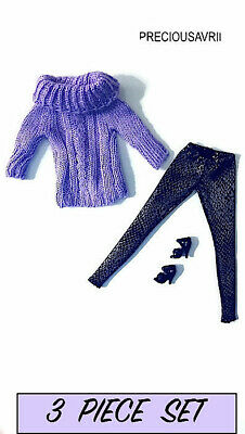 New Barbie doll clothes outfit 3 piece set Jumper, Leggings & Shoes winter knit