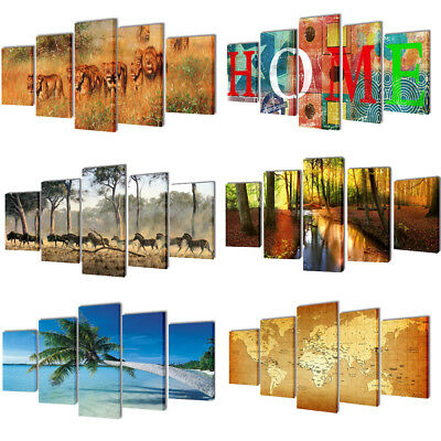 5pcs/set Canvas Kitchen Wall Art Painting Picture Animal Print Dining Room Decor
