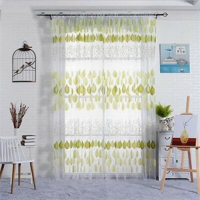 Leaves Wedding Yarn Window Screen Gauze Curtain Sheer Voile Blackout Curtains