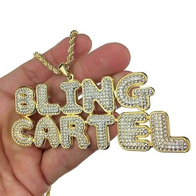 """14K Gold Plated Bling Cartel Rope Chain Iced-Out Pendant Hip Hop Necklace 24"""""""