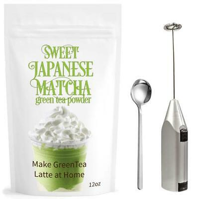 Modern Matcha Set |3 Items| Sweet Japanese Matcha 12oz+ Electric Frother + Spoon