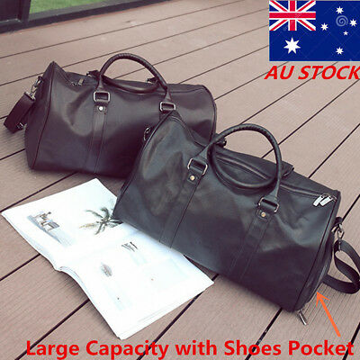 Men Women Large Leather Outdoor Gym Duffel Bag Travel Luggage Overnight Handbag
