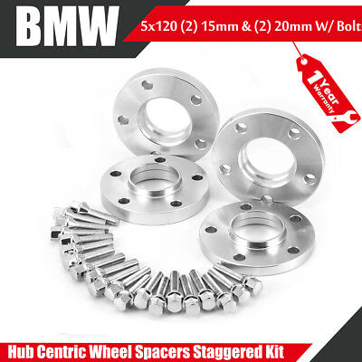 2 2 20mm /& 15mm W//20 Extended Bolts 4- BMW Staggered Kit Hub-Centric Spacers
