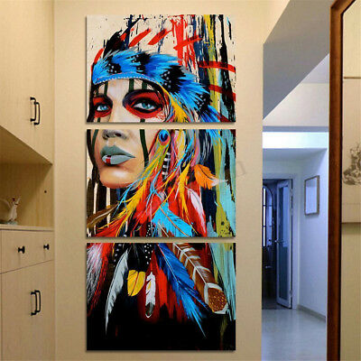 3Pcs/Set Indian Woman Canvas Painting Print Picture Home Wall Modern Art