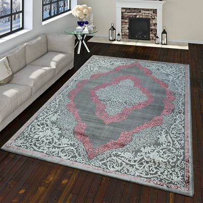 Modern Oriental Rug Vintage Look With Classic Ornaments In Grey Pink